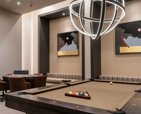 Kathy Andrews Interiors Multifamily Interior Design Leasing and Amenity Center Encore at Boulevard One Game Room 2 Cropped