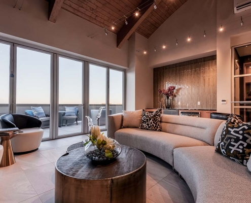 Kathy Andrews Interiors Multifamily Interior Design Leasing and Amenity Center Encore at Boulevard One Sky Lounge