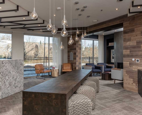 Kathy Andrews Interiors Multifamily Interior Design Leasing and Amenity Centers Luxe at Mile High Business Center
