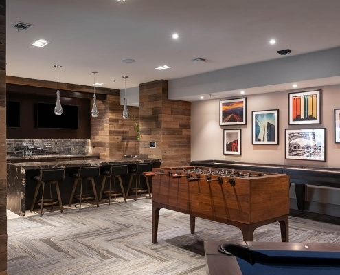 Kathy Andrews Interiors Multifamily Interior Design Leasing and Amenity Centers Luxe at Mile High Game Room