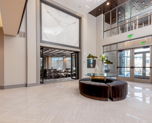 Kathy Andrews Interiors Multifamily Interior Design Leasing and Amenity Centers Luxe at Mile High Lobby