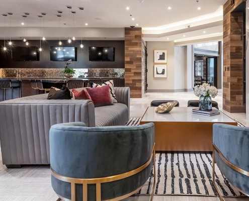Kathy Andrews Interiors Multifamily Interior Design Leasing and Amenity Centers Luxe at Mile High Lounge 2