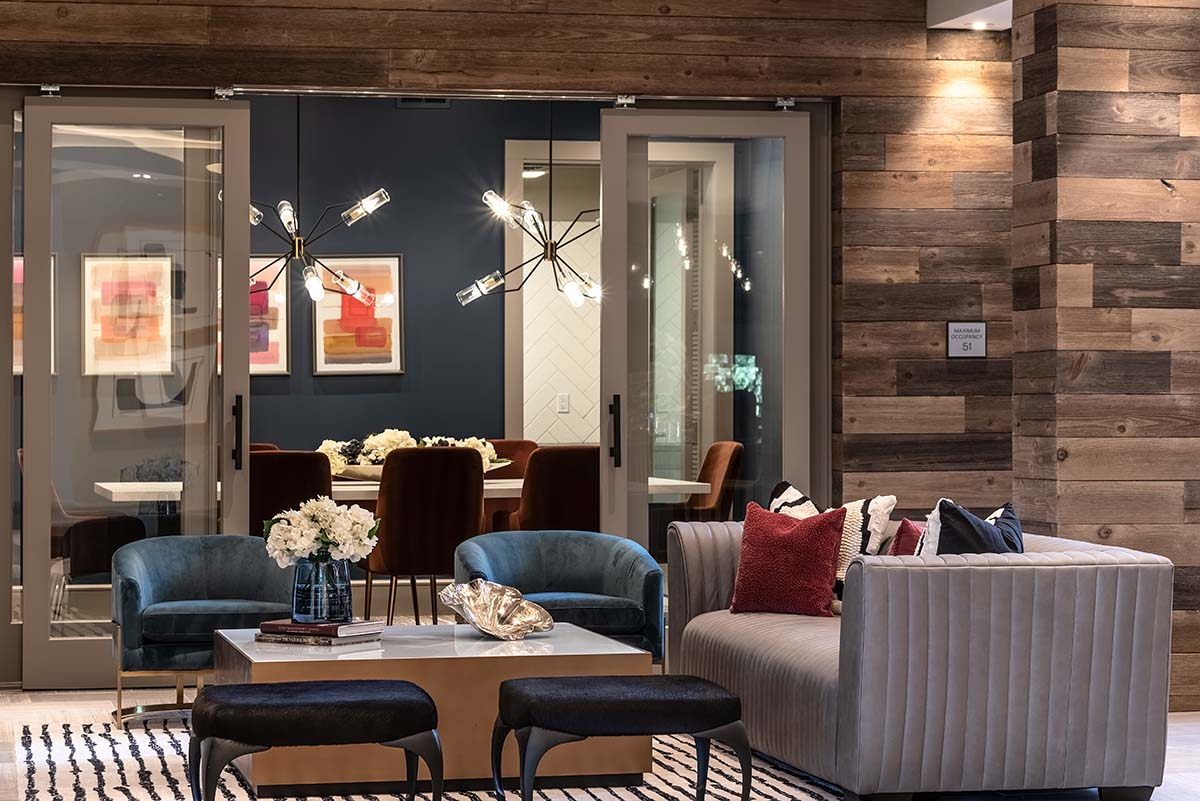 Kathy Andrews Interiors Multifamily Interior Design Leasing and Amenity Centers Luxe at Mile High Lounge