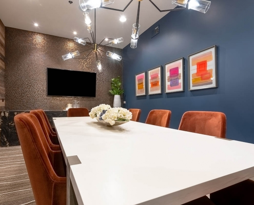 Kathy Andrews Interiors Multifamily Interior Design Leasing and Amenity Centers Luxe at Mile High Private Dining