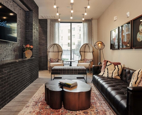 Kathy Andrews Interiors Multifamily Interior Design Leasing and Amenity Centers The Guthrie Media Room