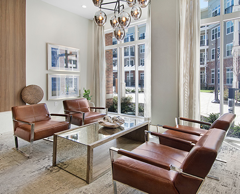 Kathy Andrews Interiors Multifamily Interior Design Leasing and Amenity Centers Woodmont Metro at Metuchen Station Lounge Cropped