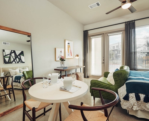 Kathy Andrews Interiors Multifamily Interior Design Model Units The Guthrie Studio Bedroom 2