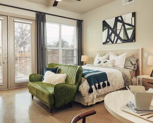 Kathy Andrews Interiors Multifamily Interior Design Model Units The Guthrie Studio Bedroom 3