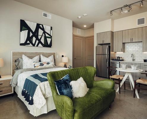 Kathy Andrews Interiors Multifamily Interior Design Model Units The Guthrie Studio Bedroom