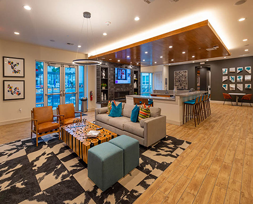 Kathy Andrews Interiors Student Housing Leasing and Amenity Center Interior Design Sterling Heights Lounge Cropped