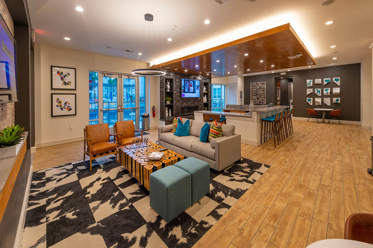 Kathy Andrews Interiors Student Housing Leasing and Amenity Center Interior Design Sterling Heights Lounge