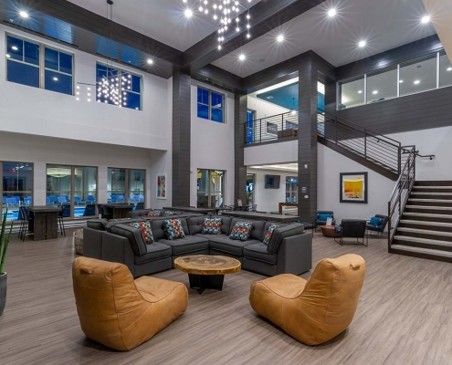 Kathy Andrews Interiors Student Housing Leasing and Amenity Center Interior Design The Domain at Corvallis Club Room 2