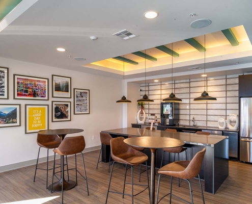 Kathy Andrews Interiors Student Housing Leasing and Amenity Center Interior Design The Domain at Corvallis Club Room