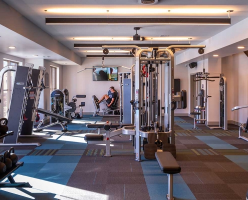 Kathy Andrews Interiors Student Housing Leasing and Amenity Center Interior Design The Domain at Corvallis Fitness 1