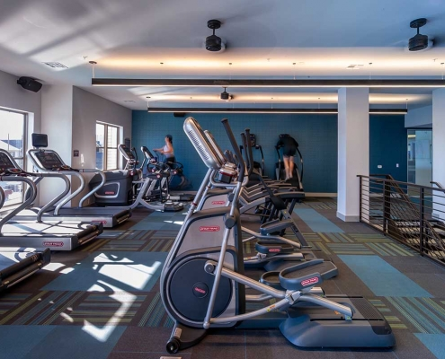 Kathy Andrews Interiors Student Housing Leasing and Amenity Center Interior Design The Domain at Corvallis Fitness 2