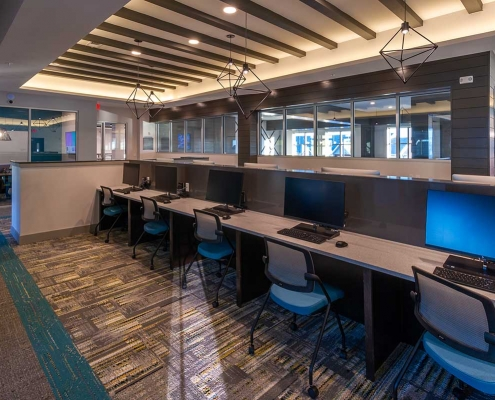 Kathy Andrews Interiors Student Housing Leasing and Amenity Center Interior Design The Domain at Corvallis Study Lounge