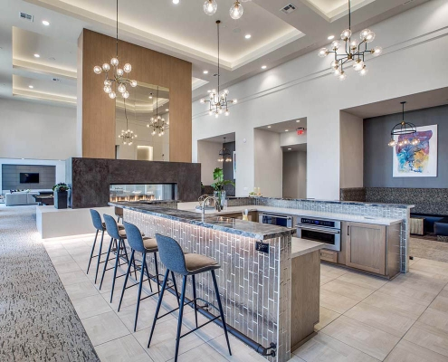 Kathy Andrews Interiors Multifamily High Rise and Mid Rise Interior Design Leasing and Amenity Center Alexan Exchange Club Room Cropped