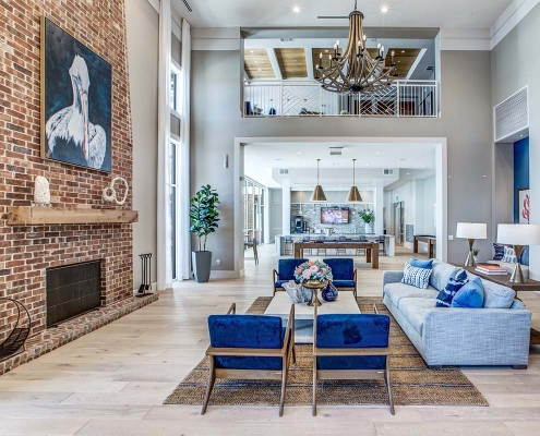 Kathy Andrews Interiors Multifamily High Rise and Mid Rise Interior Design Leasing and Amenity Center 255 Assay Club Room Crop