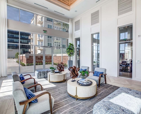 Kathy Andrews Interiors Multifamily High Rise and Mid Rise Interior Design Leasing and Amenity Center 255 Assay Lobby