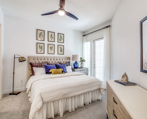 Kathy Andrews Interiors Multifamily High Rise and Mid Rise Interior Design Model Unit 255 Assay Bedroom 1