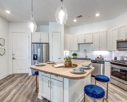 Kathy Andrews Interiors Multifamily High Rise and Mid Rise Interior Design Model Unit 255 Assay Kitchen