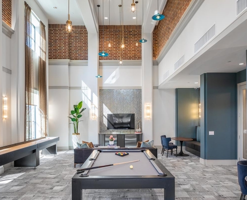 Kathy Andrews Interiors Multifamily Mid Rise and High Rise Interior Design Heights Waterworks Parlor 2