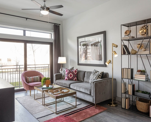 Kathy Andrews Interiors Multifamily Mid Rise and High Rise Interior Design Heights Waterworks Model Unit Living Room
