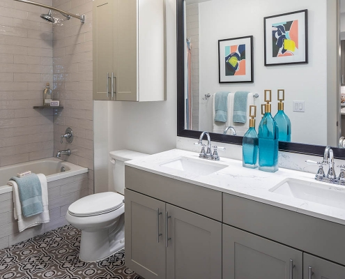 Kathy Andrews Interiors Multifamily Mid Rise and High Rise Interior Design Heights Waterworks Model Unit Bath Room