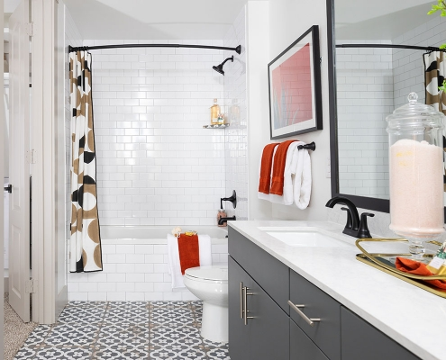 Kathy Andrews Interiors Multifamily Mid Rise and High Rise Interior Design 15th Street Flats Model Unit Bathroom