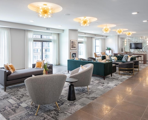 Kathy Andrews Interiors Multifamily Mid Rise and High Rise Interior Design Heights Waterworks Sky Lounge 2