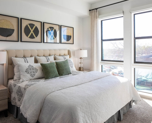 Kathy Andrews Interiors Multifamily Mid Rise and High Rise Interior Design Heights Waterworks Model Unit Bed Room 2