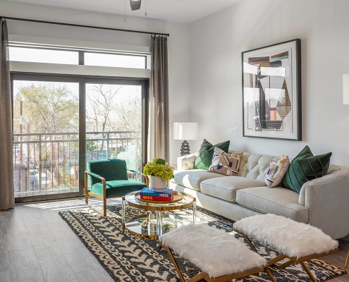 Kathy Andrews Interiors Multifamily Mid Rise and High Rise Interior Design Heights Waterworks Model Unit Living Room 2