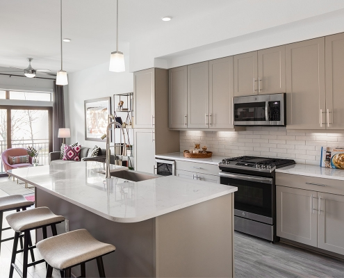 Kathy Andrews Interiors Multifamily Mid Rise and High Rise Interior Design Heights Waterworks Model Unit Kitchen