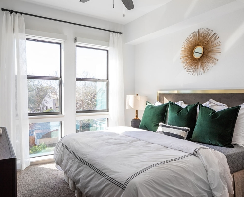 Kathy Andrews Interiors Multifamily Mid Rise and High Rise Interior Design Heights Waterworks Model Unit Bed Room 3