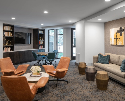 Kathy Andrews Interiors Multifamily Mid Rise and High Rise Interior Design 15th Street Flats Library