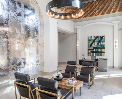 Kathy Andrews Interiors Multifamily Mid Rise and High Rise Interior Design Heights Waterworks Lobby