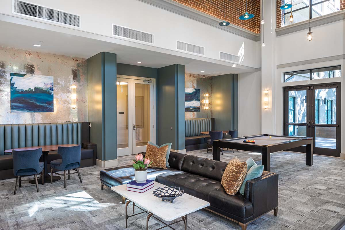 Kathy Andrews Interiors Multifamily Mid Rise and High Rise Interior Design Heights Waterworks Parlor