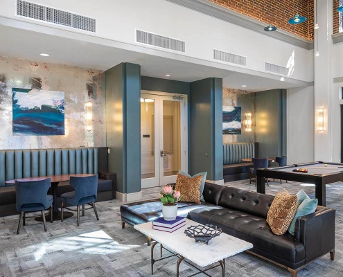 Kathy Andrews Interiors Multifamily Mid Rise and High Rise Interior Design Heights Waterworks Parlor Cropped
